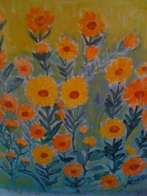 tablou cu galbenele in gradina