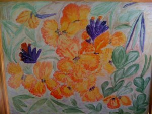 tablou cu flori oranj