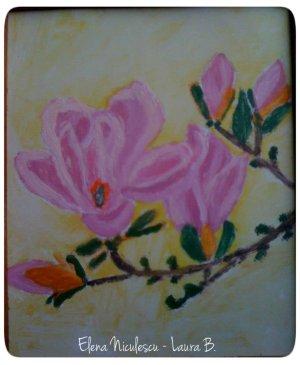 minitablou cu magnolie roz