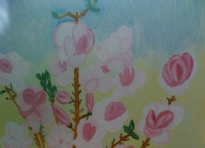 tablou cu magnolie roz 2013 detaliu
