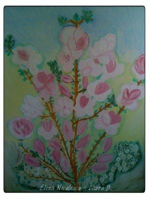 tablou cu magnolie roz full a2013