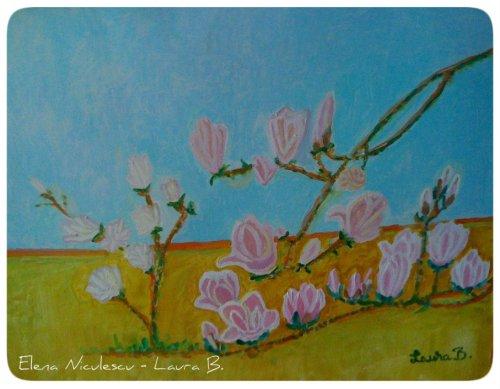 tablou cu magnolie roz