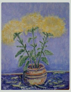 tablou crizanteme galbene
